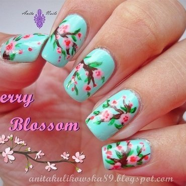 Cherry Blossom nail art by Anita