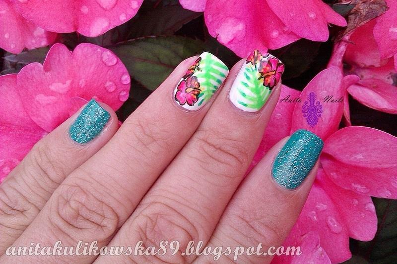 Tropical flowers nail art by Anita