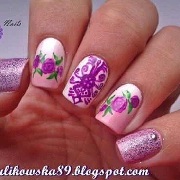 Modern Folk nail art by Anita