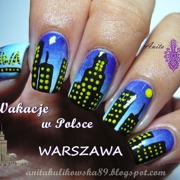 Warsaw by night nail art by Anita