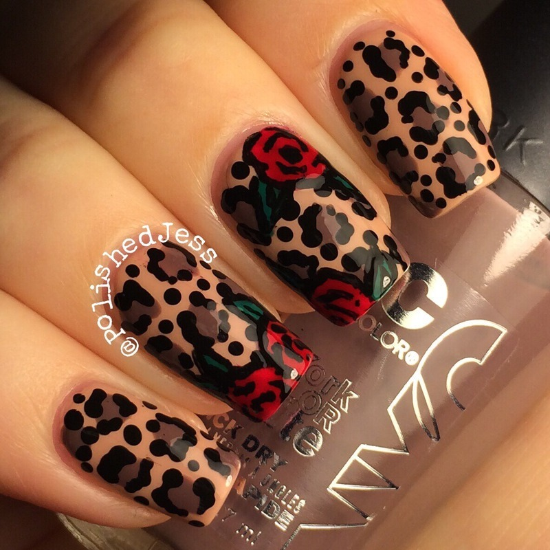 Leopard and Roses  nail art by PolishedJess