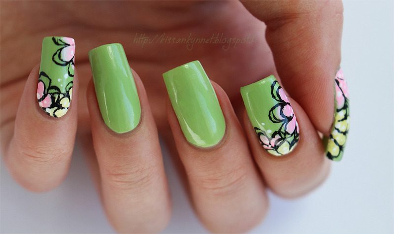 Late summer flowers nail art by Yue