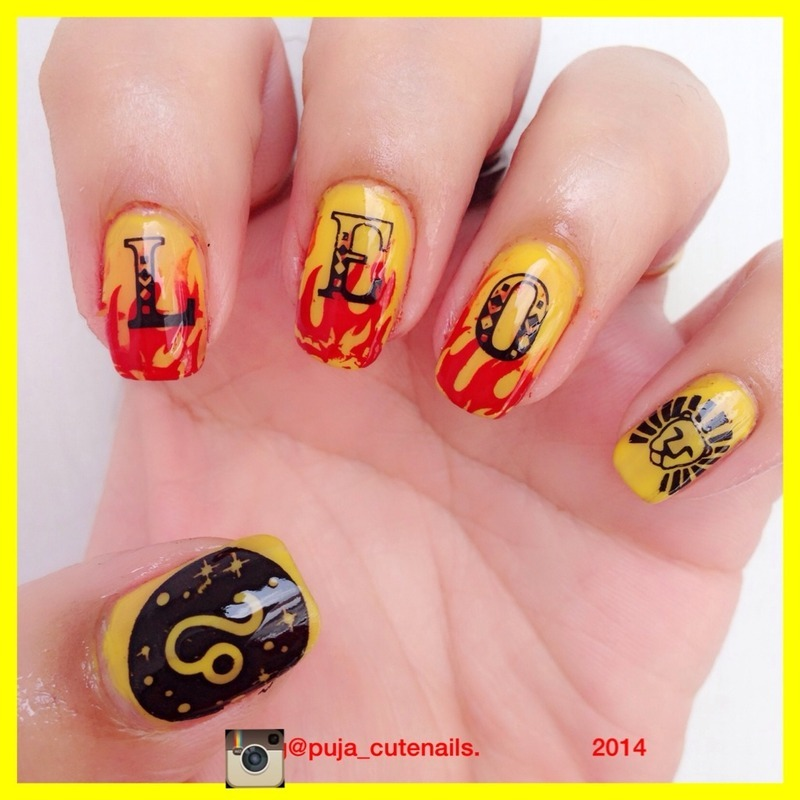 Leo inspired nails nail art by Puja Malhotra