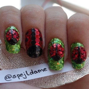 Hand Sparkled Lady Birds nail art by Sparkly Nails by Spejldame
