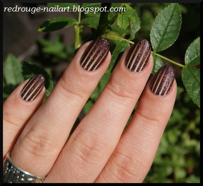 Brown stripes nail art by RedRouge