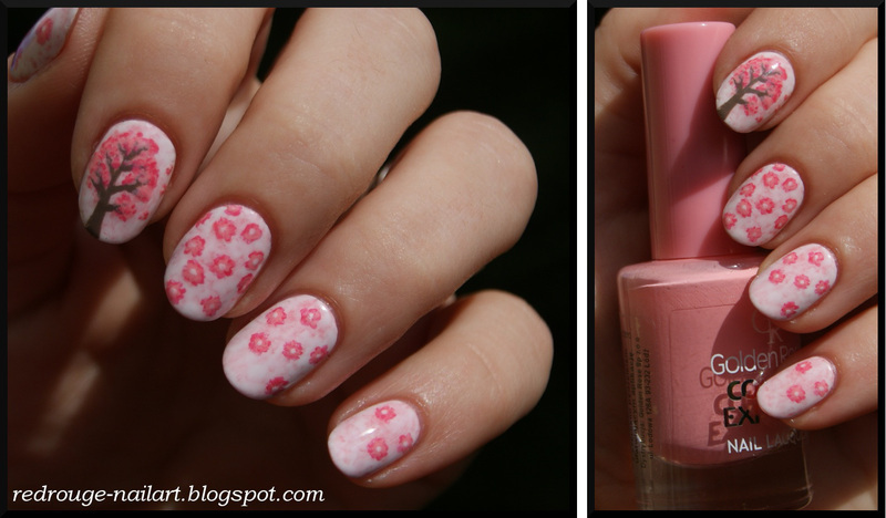 cherry tree nail art by RedRouge