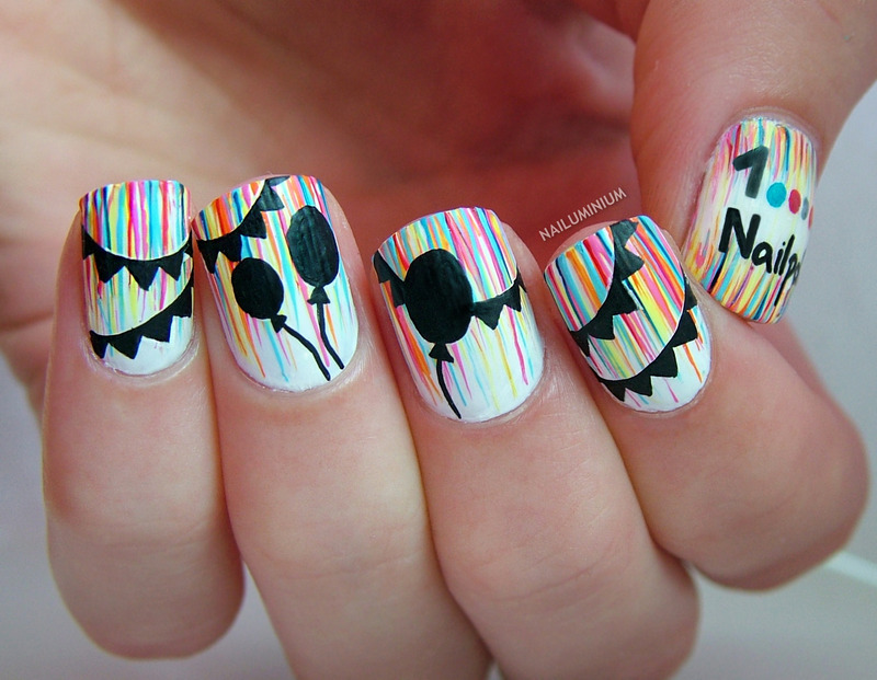 Celebration Time nail art by Margee C.