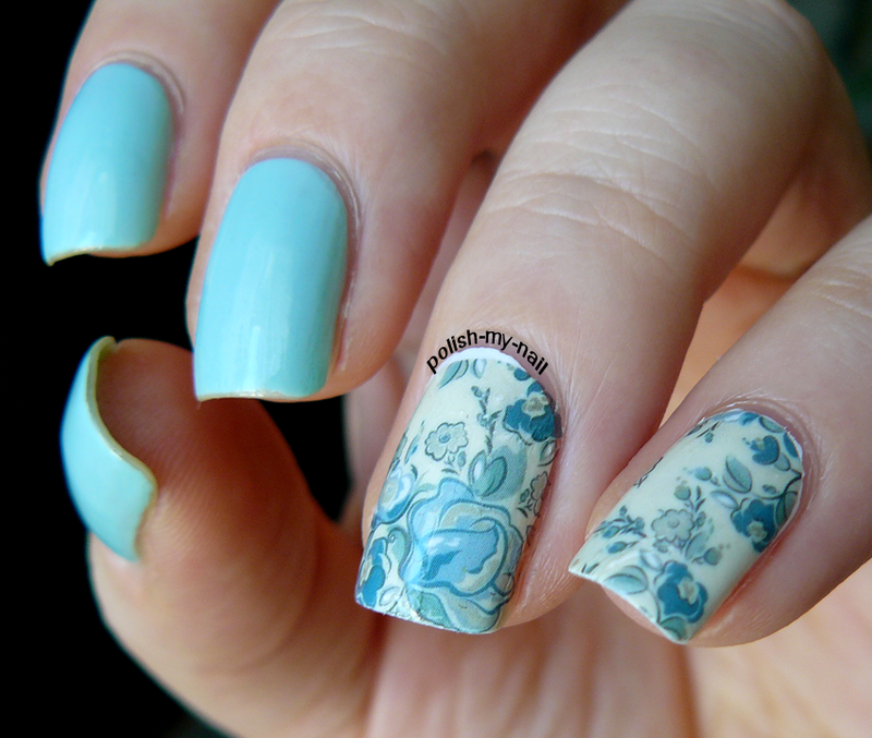 Mint & water decals nail art by Ewlyn