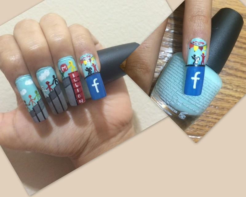 Celebrating 1 million Facebook Fans with free hand painting nail art by Rishu