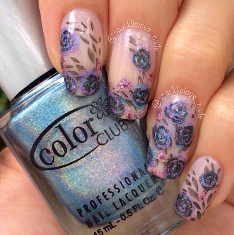 """Holographic Roses nail art by Amanda """"Sparklicious Nails"""""""