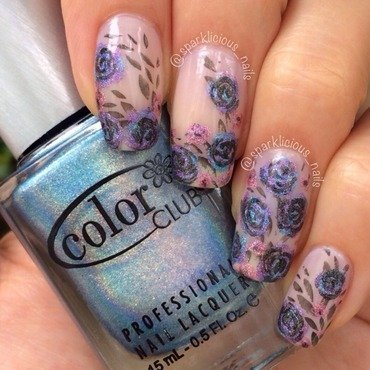 "Holographic Roses nail art by Amanda ""Sparklicious Nails"""