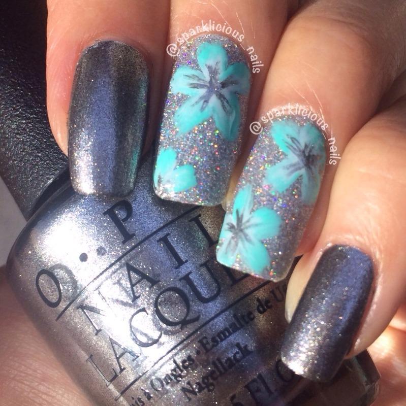"Holo Metallic One-Stroke Florals nail art by Amanda ""Sparklicious Nails"""