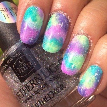 "Neon Galaxy nail art by Amanda ""Sparklicious Nails"""