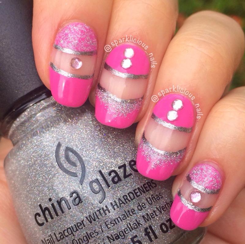 """Girly Negative Space nail art by Amanda """"Sparklicious Nails"""""""