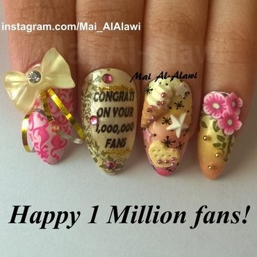 Happy 1 Million fans! nail art by Mai Al-Alawi