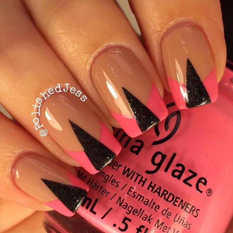 Nude Geometric  nail art by PolishedJess