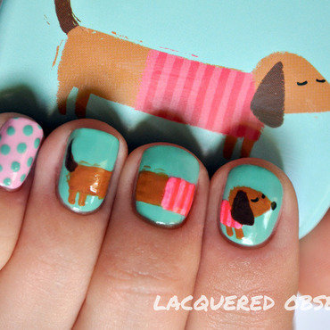 Dachshund from a tin nail art by Lacquered Obsession