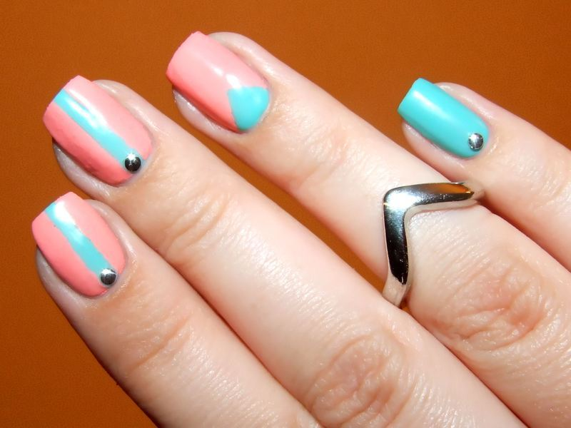 Chevron moon nail art by Paulina Domoradzka