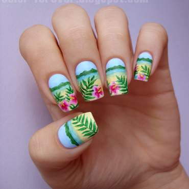 tropical hibiscus & beach nail art by ania