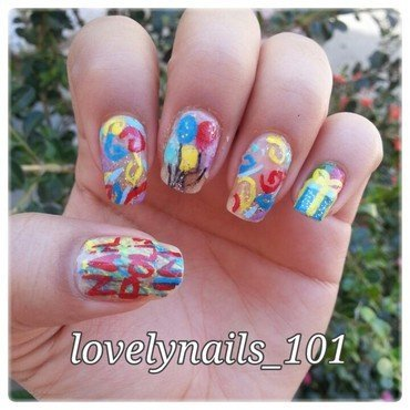 Nailpolis 1M Facebook Fan party nail art by Magaly