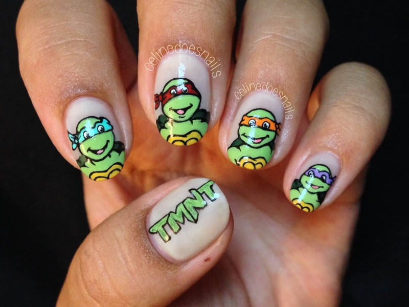 Teenage Mutant Ninja Turtles Nail Art nail art by Celine Peña