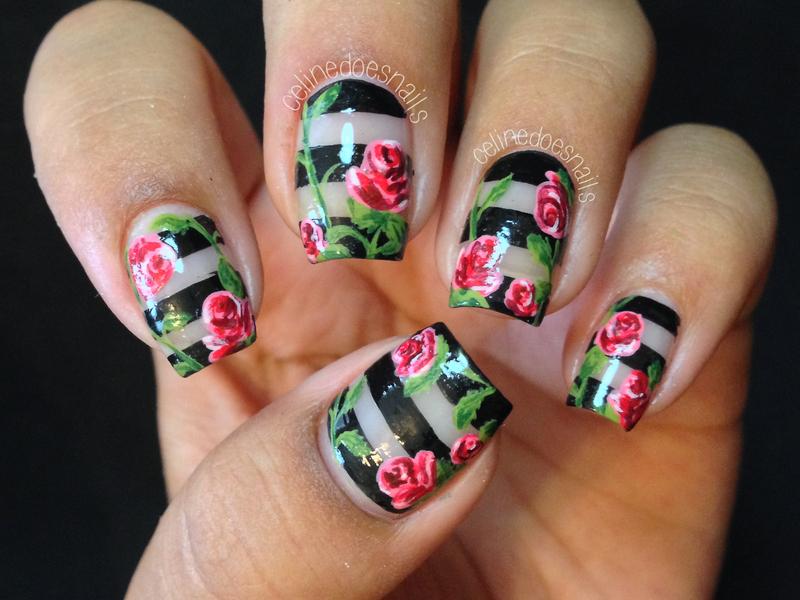 Negative Space Rose Nail Art nail art by Celine Peña