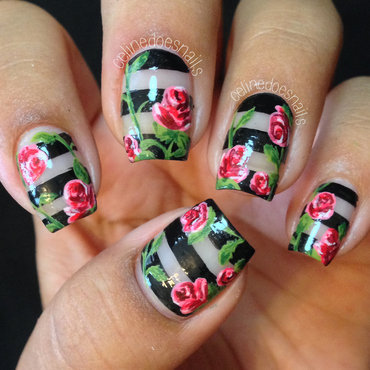 Negative Space Rose Nail Art nail art by Celine Peña