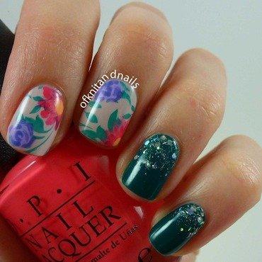 Brazilian Florals nail art by Julie