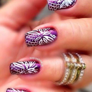 Purple Shimmer with White Flowers nail art by Debbie