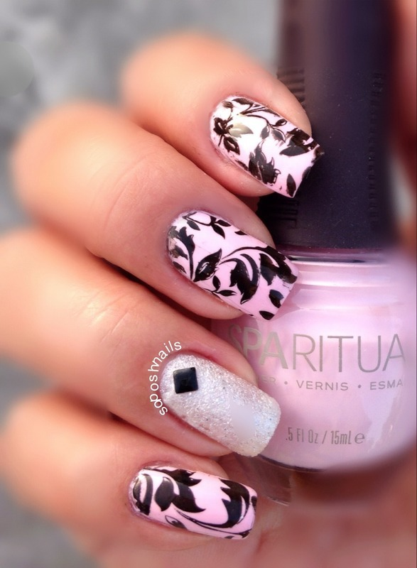Light Pink With Black Leaves Nail Art By Debbie Nailpolis Museum Of Nail Art