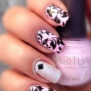 Light Pink with Black Leaves nail art by Debbie
