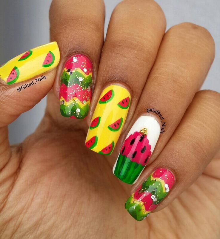 Watermelon nails nail art by Gifted_nails