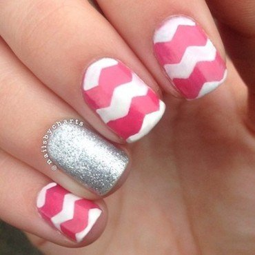 pink chevron  nail art by Claudia