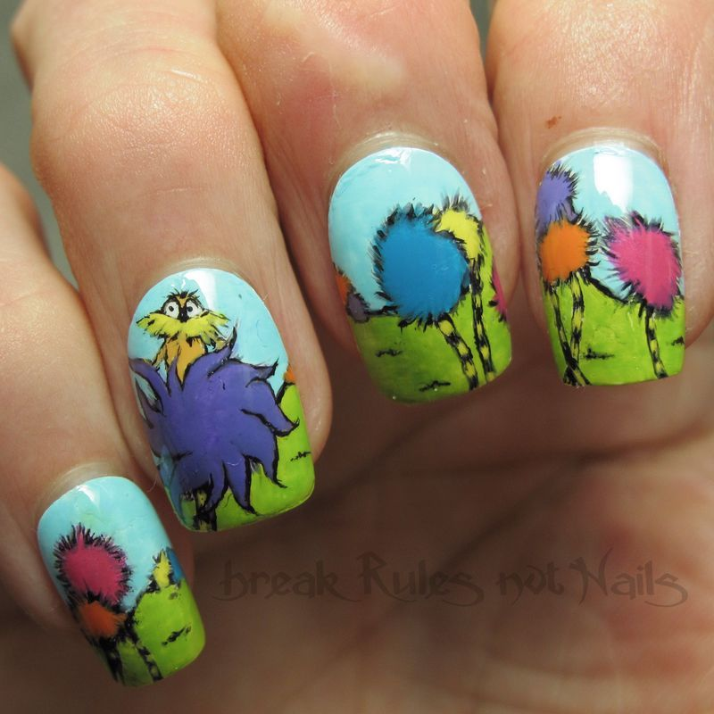 The Lorax nail art by Michelle