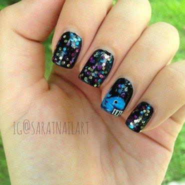 Glittery whale nail art by Sara T