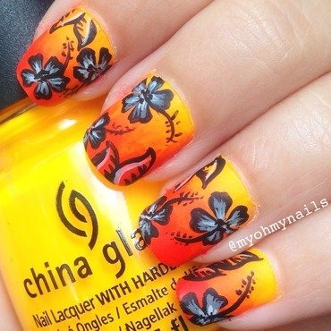 Tropical Flowers nail art by Niki My Oh My Nails