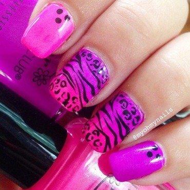 Neon Animal Print nail art by Niki My Oh My Nails