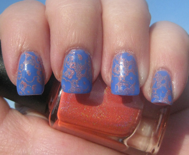 Floral Stamping nail art by Andi