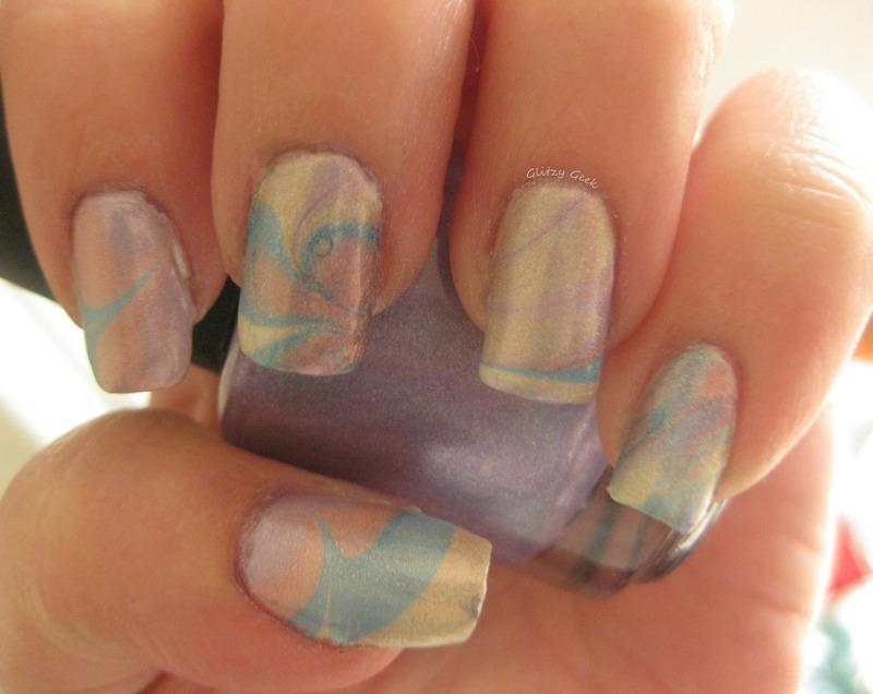 Ultra Holo Water Marbling nail art by Andi