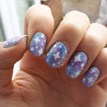 Galaxy Nails nail art by Polishisthenewblack