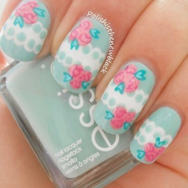 Vintage floral lace nails nail art by Polishisthenewblack