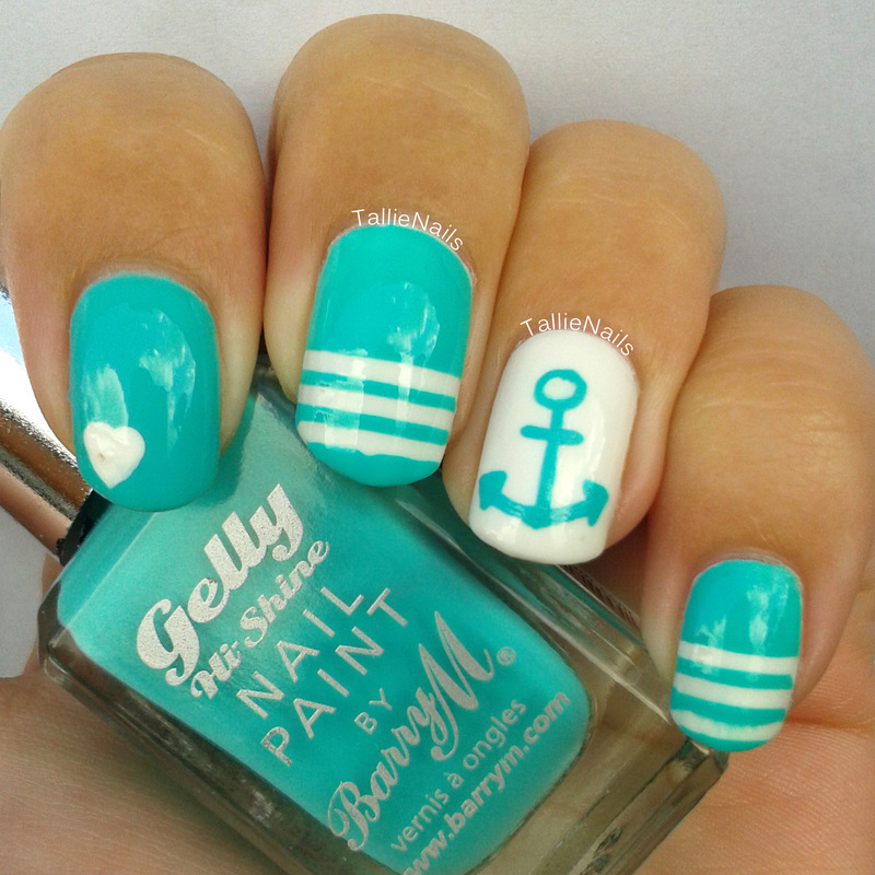 Teal Nautical nail art by Tallie