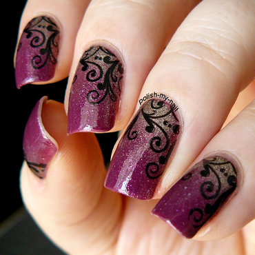 Gradient and stamps nail art by Ewlyn