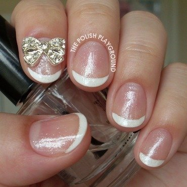 Shimmery 20classic 20french 20manicure 20with 20bow 20stud 20nail 20art thumb370f