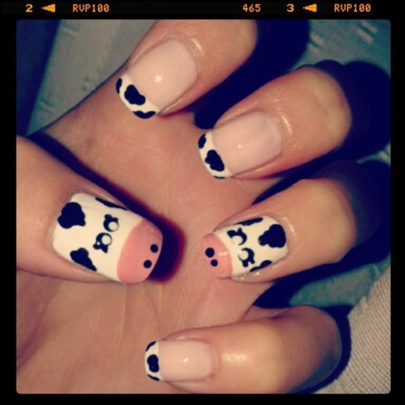 Cow Nails nail art by Emilia