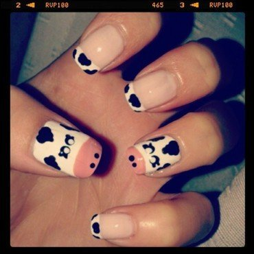 Cow Nails nail art by Emilia