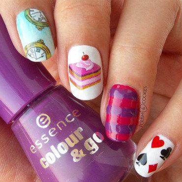 Alice In Wonderland nail art by PolishCookie