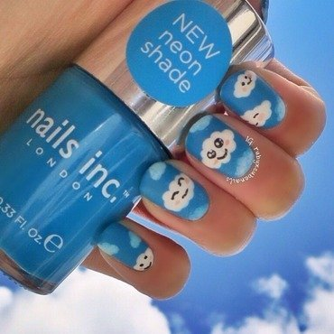 Cute matte clouds nail art by Ruby