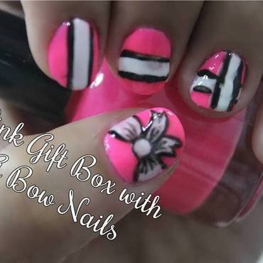 Pink Gift Box with A Bow Nail Art nail art by ImJanine0812
