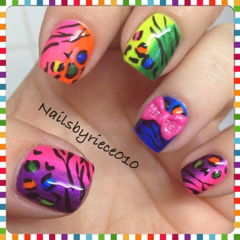 Neon Animal Print nail art by Riece